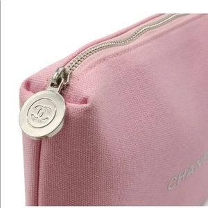 Pink Chanel cosmetic Pouch